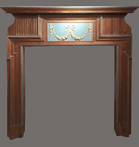 cheminée ancienne bois sapin rechampi bleu milieu XIX° L 126, H 128 cm