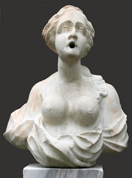 buste de fontaine marbre blanc XVII° H 64 cm