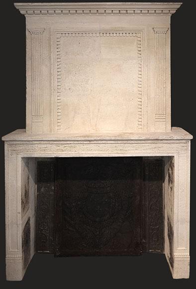 cheminée ancienne à trumeau d'époque L XIV en pierre L 162 x H 240 cm