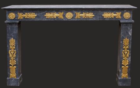 cheminée ancienne d'époque Empire à bronzes L 163 x H 107 cm