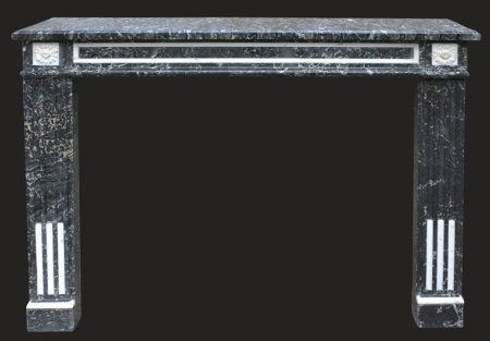 cheminée ancienne d'époque L XVI Marbre noir et blanc L 122 x 106cm