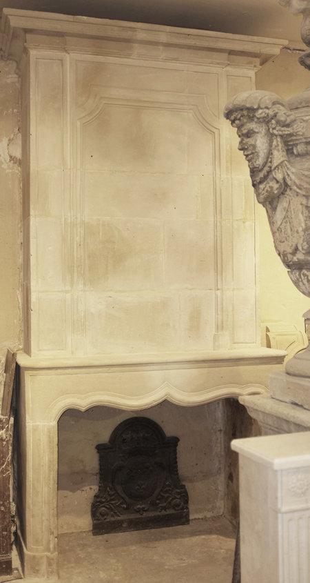 cheminée avec trumeau pierre époque XVII° L155x307 cm