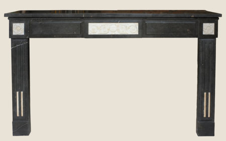 cheminée ancienne d'époque Empire Marbre noir et blanc L 172 x 109cm