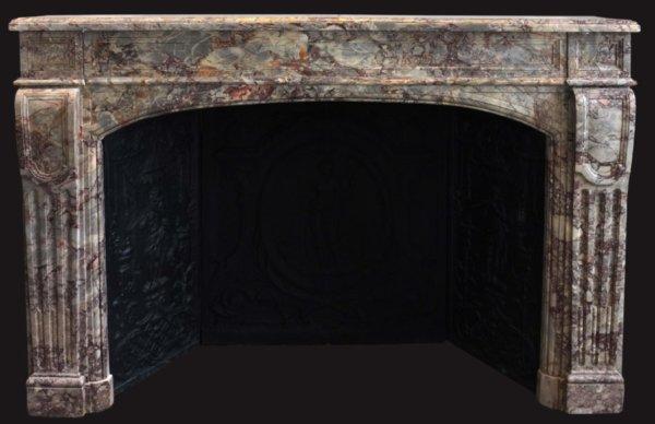 cheminée ancienne de style LXIV époque Napoléon III en marbre de Sarrancolin framboisé ( voir nouvelle salle du Louvre) L 169,5 x h 111,5 cm