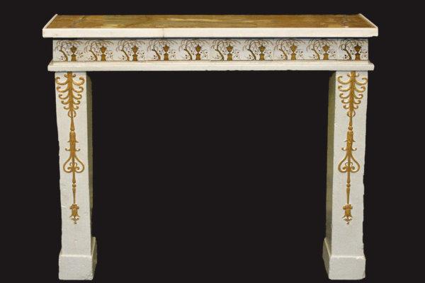 cheminée ancienne d'époque Empire en faïence, marbre jaune de Sienne et terre cuite L 101 x 90 cm